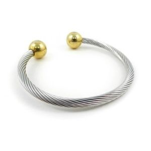 Twisted Cable Cuff Bracelet Silver Tone Gold Tone